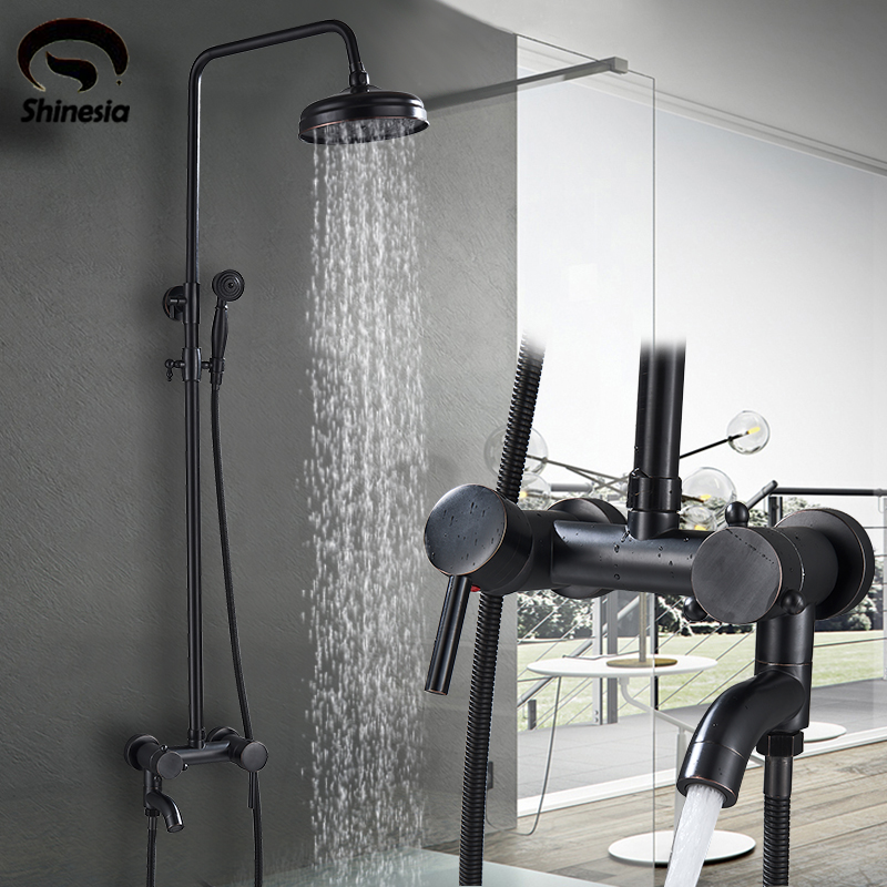 Shower Faucets Blackend Orb Waterfall Raindall Shower Head Shower Column Panel Wall Mounted Massage Jet Mixers Handshower Tub Spout Shower Comfortable And Easy To Wear Back To Search Resultshome Improvement