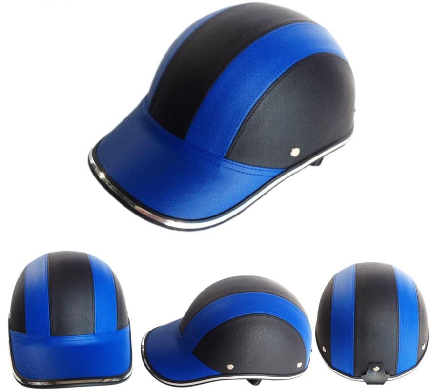 PU Leder herren Öffnen Halbe gesicht Cap Bike Fahrrad Roller Helm Weibliche Moto Casco Baseball Kappe Helme