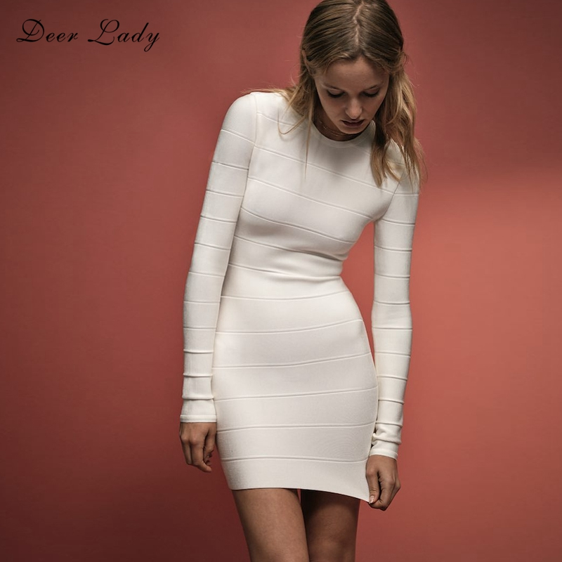 Deer Lady Women HL Bandage Dress 2019 New Arrivals Summer Long Sleeve Bandage Dress Sexy White Bandage Dress Bodycon Party Club