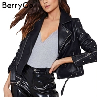 BerryGo Fashion Rivet Basic Jackets Faux Leather Coat PU Leather Jacket Women Outerwear Coats Autumn Winter