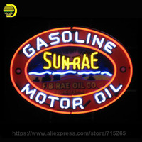 Sun Rae Motor Oil Gasoline Neon Sign Neon Light Sign Handmade Neon Bulb Advertise Shop Glass