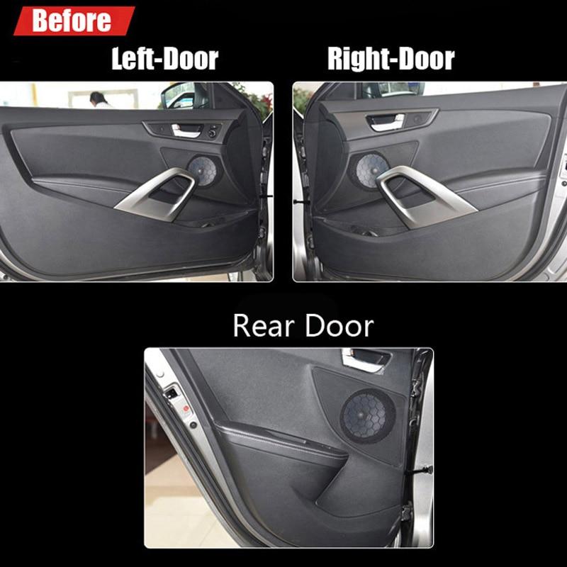 Ipoboo 2pcs Fabric Door Protection Mats Anti-kick Decorative Pads For Hyundai Veloster 2015 ipoboo 4pcs fabric door protection mats anti kick decorative pads for hyundai elantra 2012 2015