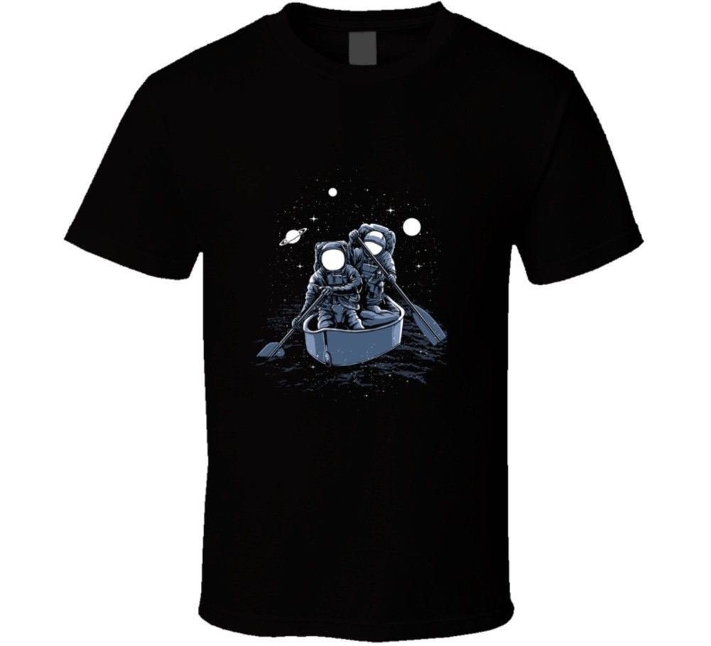 Men T Shirt Cheap Sale 100 % Cotton Astronauts Boat Universe Galaxy Space Sci-fi Science ...