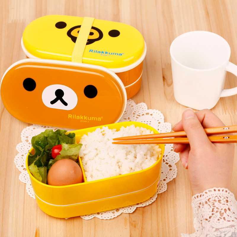 Bento box high Quality 1Set Plastic Bento Lunch Box Brown Color Microwave Rilakkuma Bento Multilayer Children Lunch Box