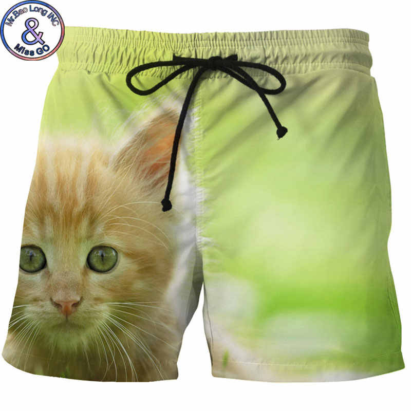 Men's Hipster Summer Quick Dry Beach Board Boxer Shorts Trunks 2018 Fashion 3D Cartoon Cat Printed Mesh Boardshorts with Pockets