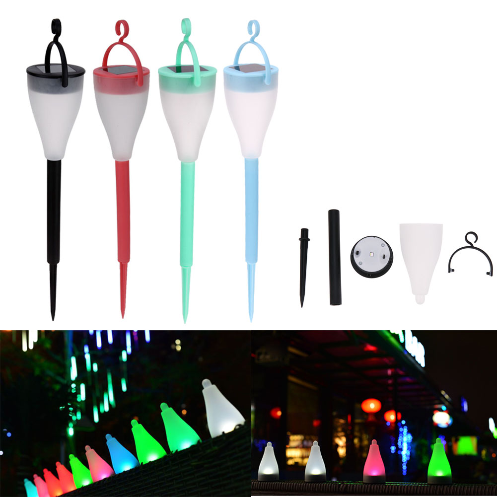 2V ABS 7 Colors Light Solar Rechargeable Waterproof Anti Fog and Yard Lawn Outdoor Decoration Light with Lamp Base