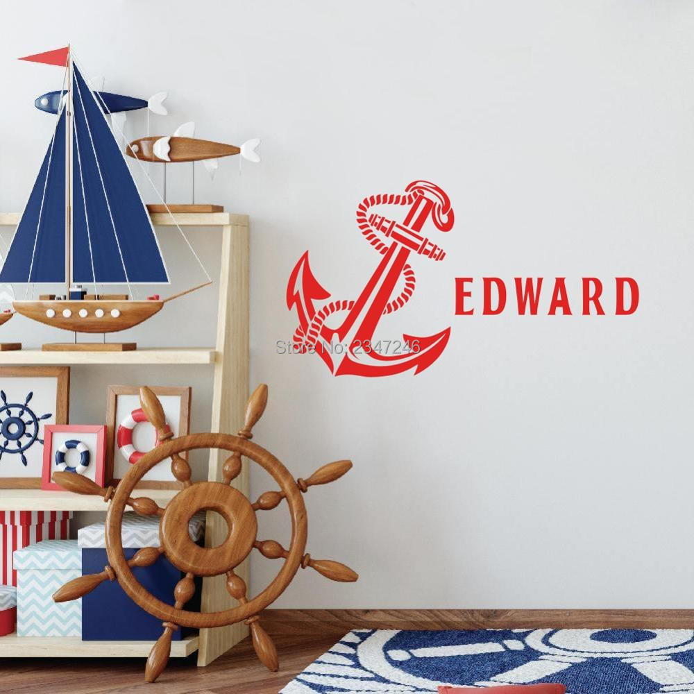 Personalized sticker anchor with boys name vinyl mural decal for kids room decoration in wall stickers from home garden on aliexpress com alibaba group