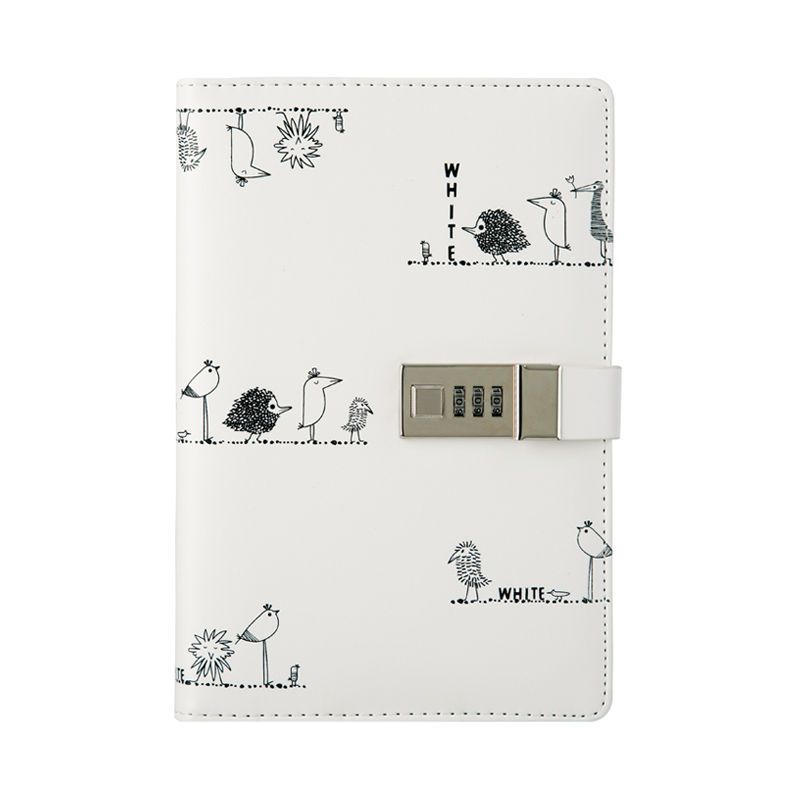 A5 PU leather cover with lock notebook Black And White Doodle Diary book practice composition binding notepad gift stationery kokuyo hotrock binding notepad soft copy a5 80 page 6 wcn n1081