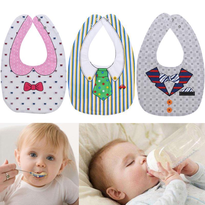 Cotton Baby Bib Double-side Baby Bibs Burp Cloths Bandana Lunch Bibs Cartoon Pattern Infant Waterproof Apron