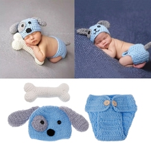 Newborn Photography Props Lovely Dog Costume Set knitting studio photography Cute photography clothes set of fashion color matching knitting props clothes hat for baby s photography
