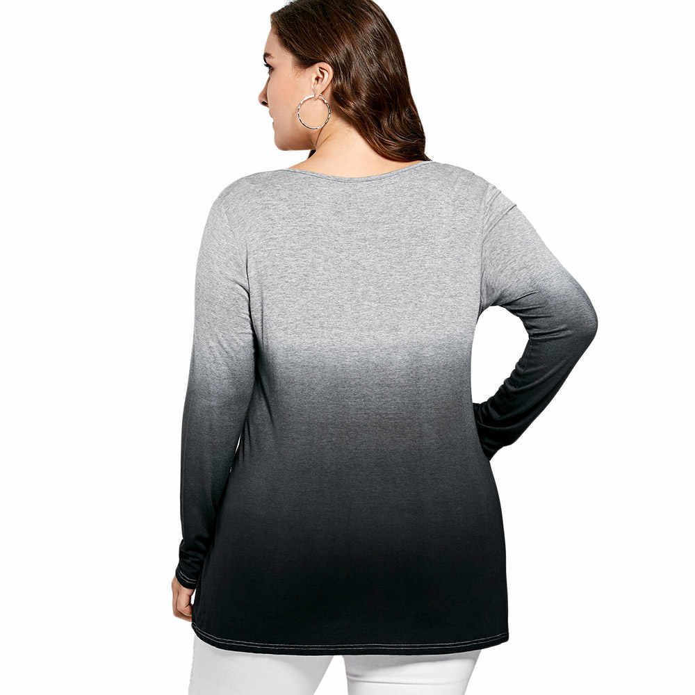 8a9bcb36e ... Wipalo Autumn Winter Women Casual Big Size T-Shirt Kangaroo Pocket Long  Sleeve Ombre T ...