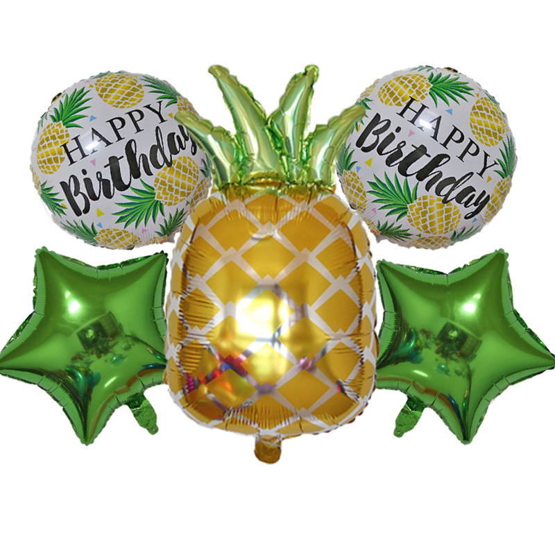 New 5pcs pineapple fruit set balloons holiday party decoration cute star happy birthday theme drifting air ball Self Sealing