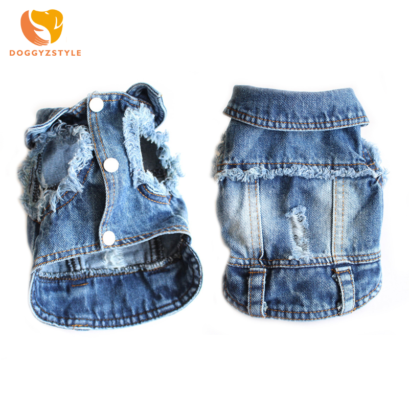 ▽ Discount for cheap summer denim pet clothes and get free