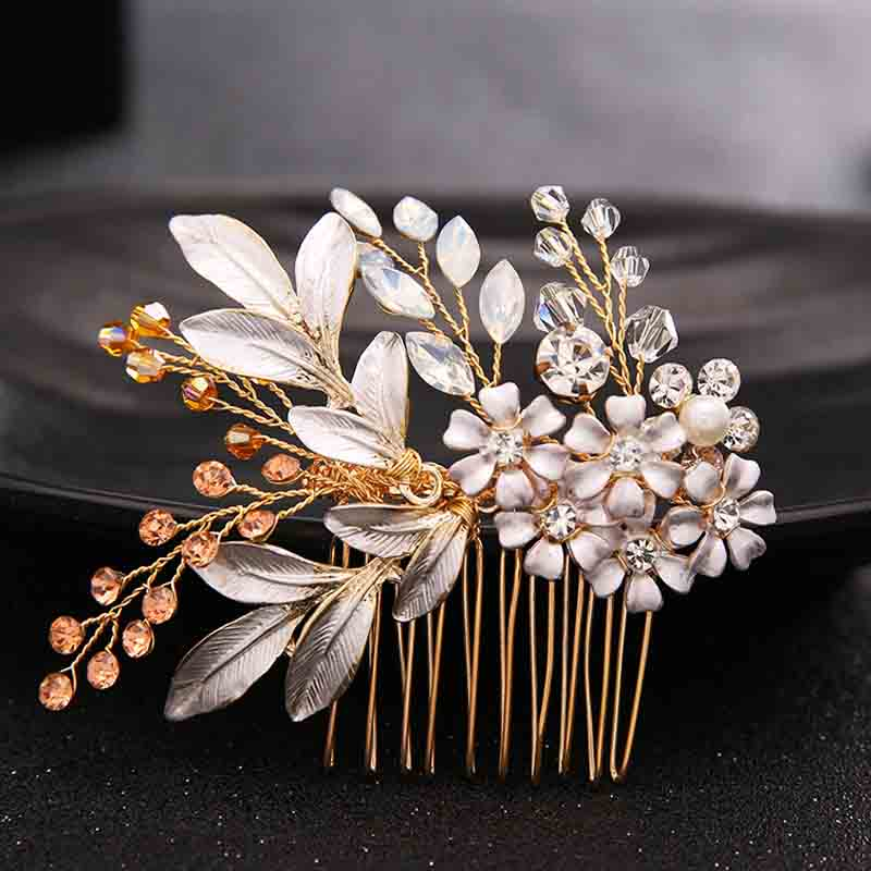 Gold Flowers Rhinestone Crystals Wedding Hair Accessories Bride Bridal Floral Hair Comb Head Pieces Hair Clips Pins Jewelry 03 red gold bride wedding hair tiaras ancient chinese empress hat bride hair piece