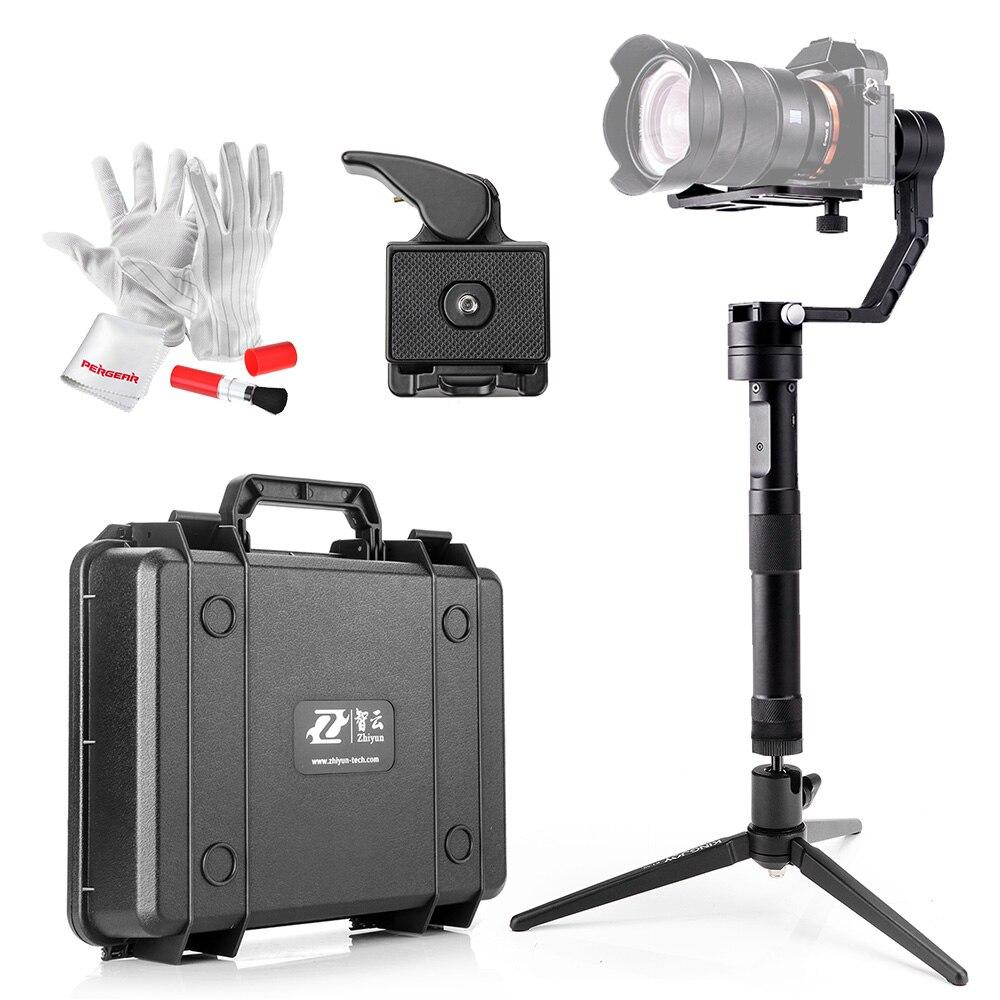 bilder für Kit Zhiyun Kran 3-achsen Hand Stabilizer Gimbal für Spiegellose DSLR Kamera + Mini Tischstativ + Quick-release Basis platte