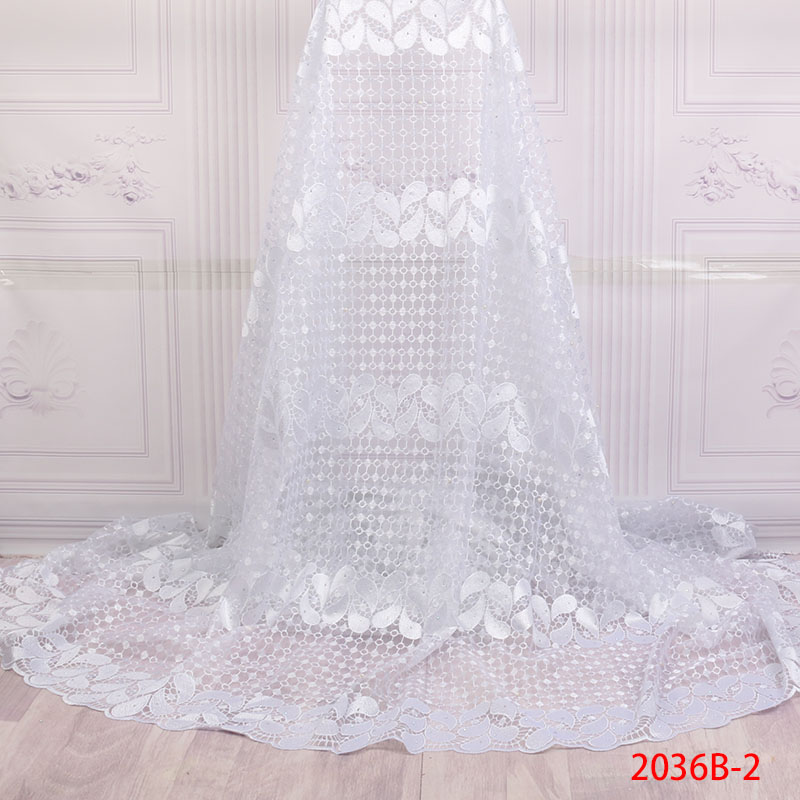 2019 High Quality African Lace Fabric Newest Women Net White Nigerian Embroidered Mesh Lace Fabric With