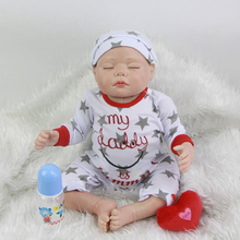 Sleeping Silicone Reborn Baby Dolls 20 Inch 50 cm Cloth Body Realistic Babies Boy Newborn Doll Toy With Romper Kids Bedtime Toy
