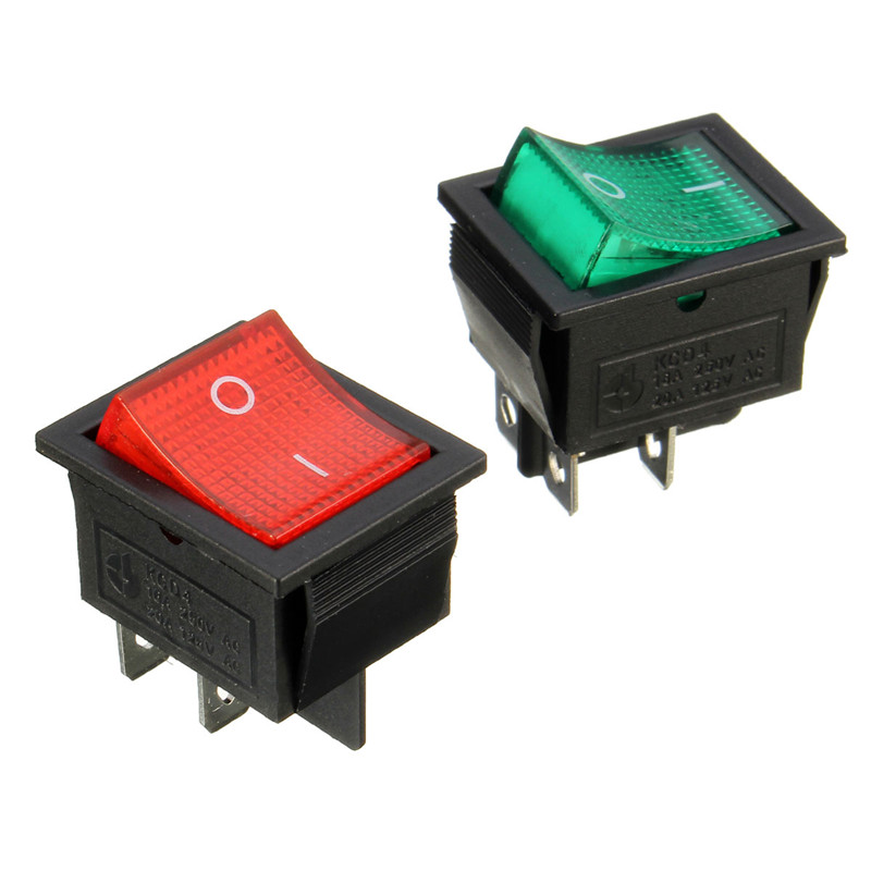 1Pc DPST Rocker Switch Power Switch I/O 4 Pins With Light 15A ...