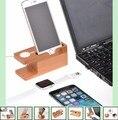 100% madera de bambú i artesanía reloj pc estación de carga soporte docking soporte del sostenedor del teléfono para todos apple i relojes/para iphone se