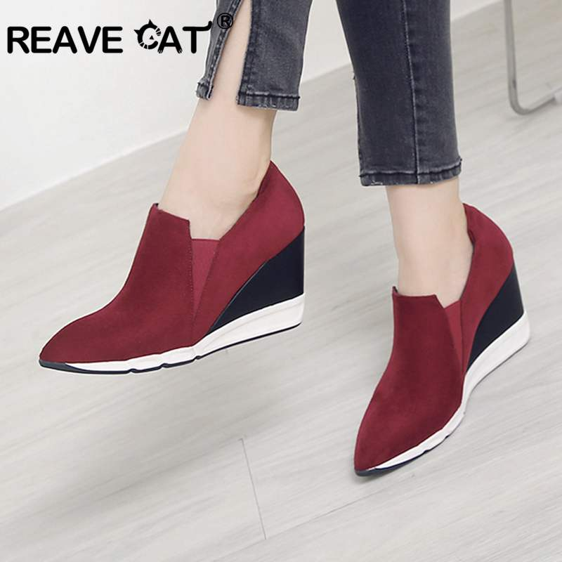 REAVE CAT Shoes women Wedges Ladies pumps Pointed toe Flock Slip on Elastic band Fashion Autumn