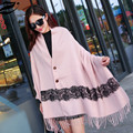 2016 Women Solid Color Lace Scarves Tassel Long  Scarf  Soft Imitation Cashmere Oversized Wrap Shawl Dress Winter Scarves
