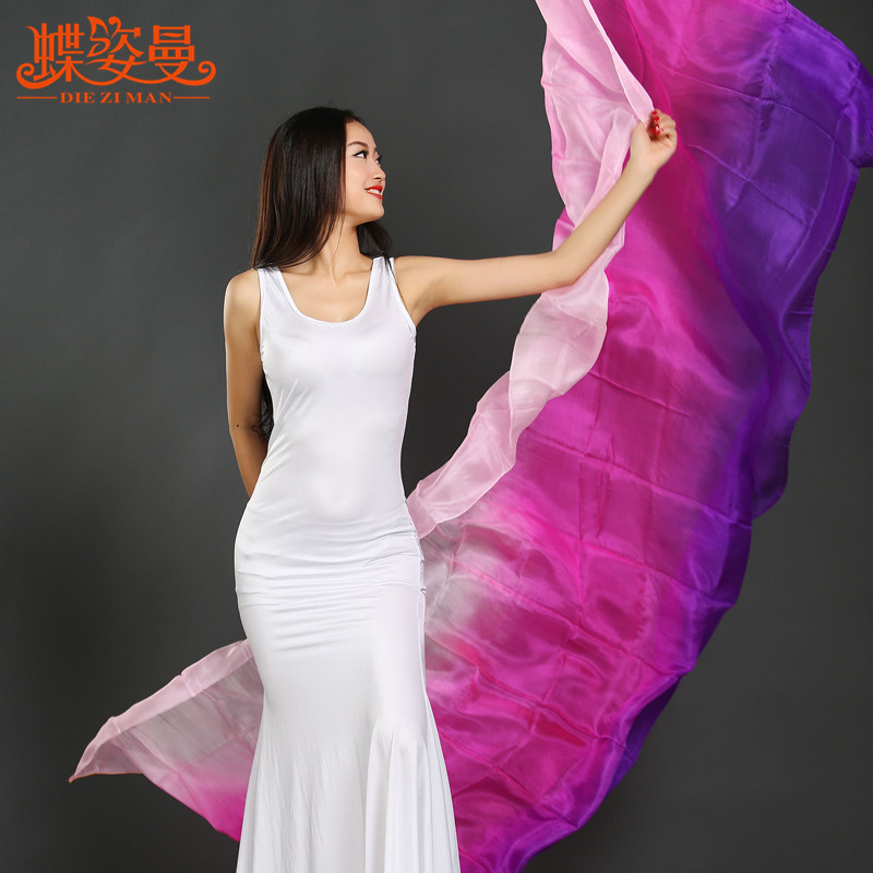 SJ003 New Belly Dancing Women 100% Silk Belly Dance Veil 8 Colors Stage Performance Property Dance Veils 260cm