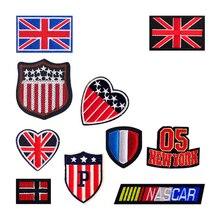 Negara Bendera Nomor Tim Logo Patch Bordir Besi Pada Patch untuk Pakaian  DIY Dekorasi Pakaian Stiker f92540e0da