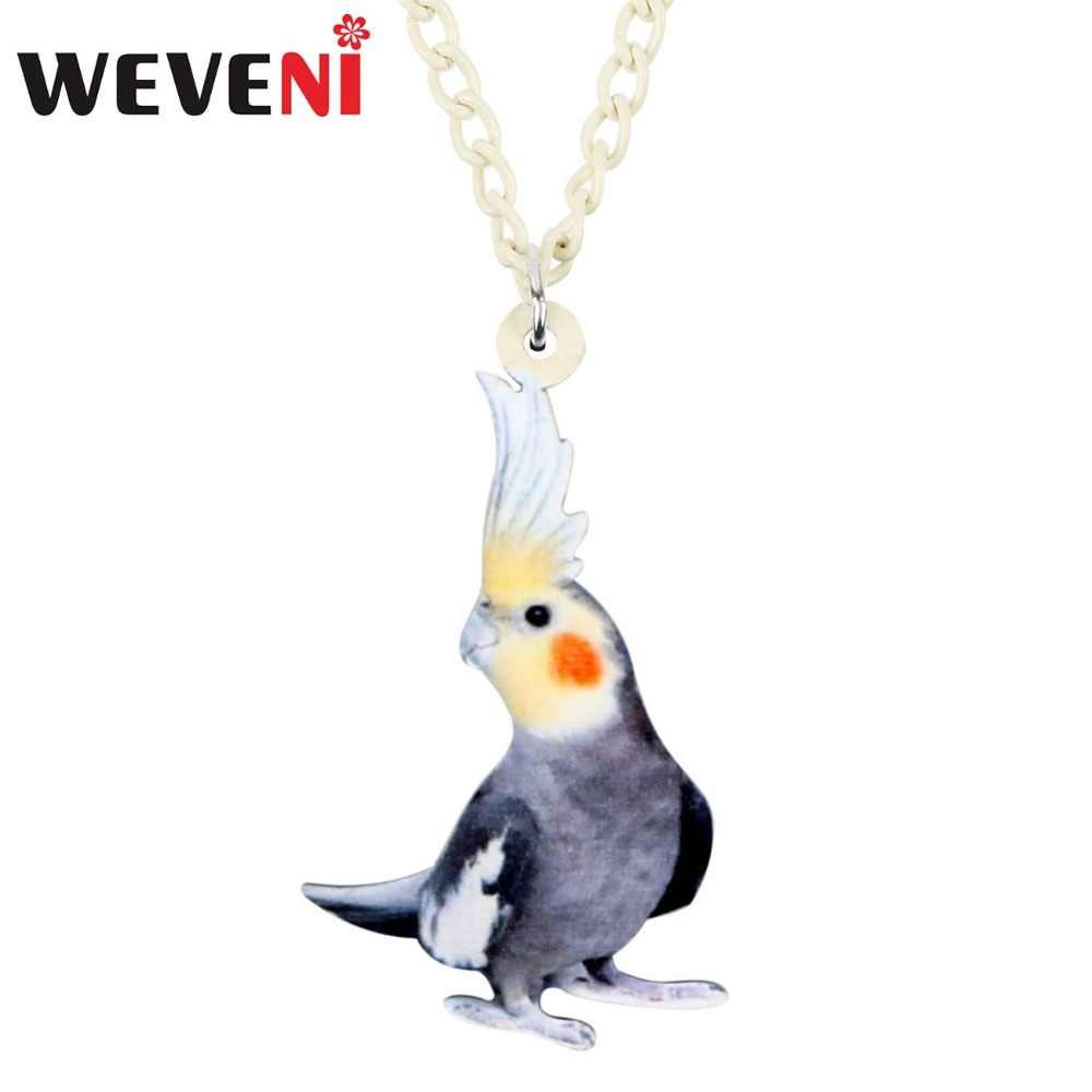WEVENI Statement Acrylic Cute Cockatoo Bird Necklace Pendant Collar Choker Fashion Animal Pet Jewelry For Women Girl Gift Bijoux