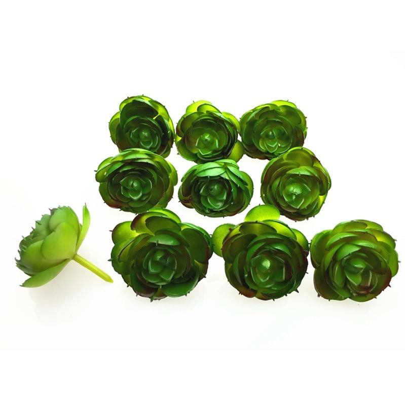 INDIGO- Wholesale 200pcs Artificial Succulent Plant Echeveria Green Desert Rose Plastic Flower Decoration Greenery Free Shipping