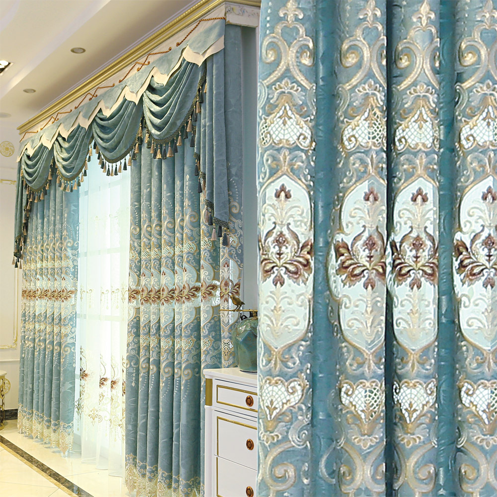 Custom curtains European  window Jacquard blue Chenille embroidered bedroom cloth blackout curtain tulle valance drape M686Custom curtains European  window Jacquard blue Chenille embroidered bedroom cloth blackout curtain tulle valance drape M686