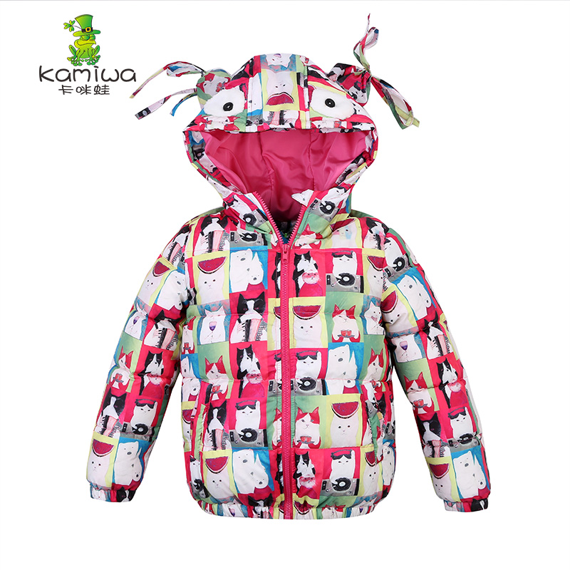 jacket for girls Cat Printing Girls Winter Coats And Jackets Kids Down Jacket Girls Clothes Parkas Children Baby Girls Clothing цена