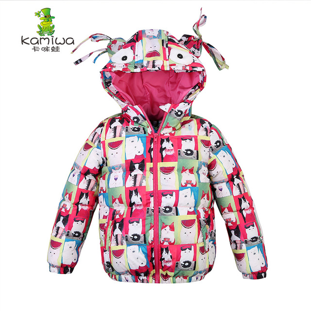 dfde6e83e3ad jacket for girls Cat Printing Girls Winter Coats And Jackets Kids ...