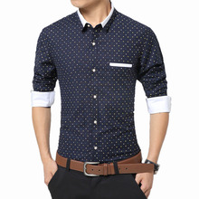 New Fashion Trend Men's Shirts Polka Dot Dress Shirt Men Long Sleeved Business Male Tops Formal Cotton Camisa Masculina Slim Fit