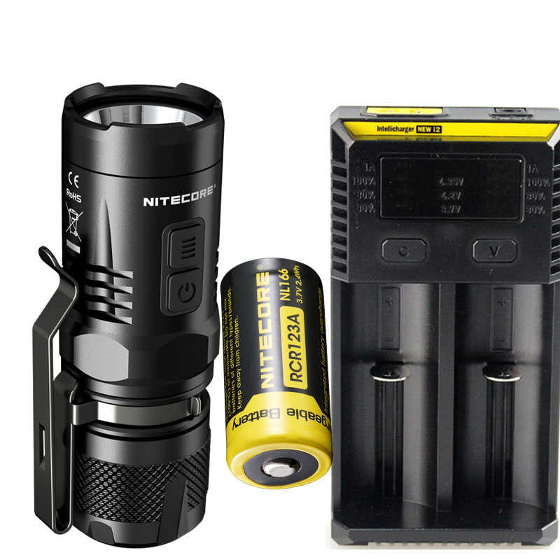 NITECORE EC11 XM-L2 LED Flashlight 900 lumens White and Red Tactical Flashlight for Camping + NEW I2 charger + NL166 battery 3800 lumens cree xm l t6 5 modes led tactical flashlight torch waterproof lamp torch hunting flash light lantern for camping z93