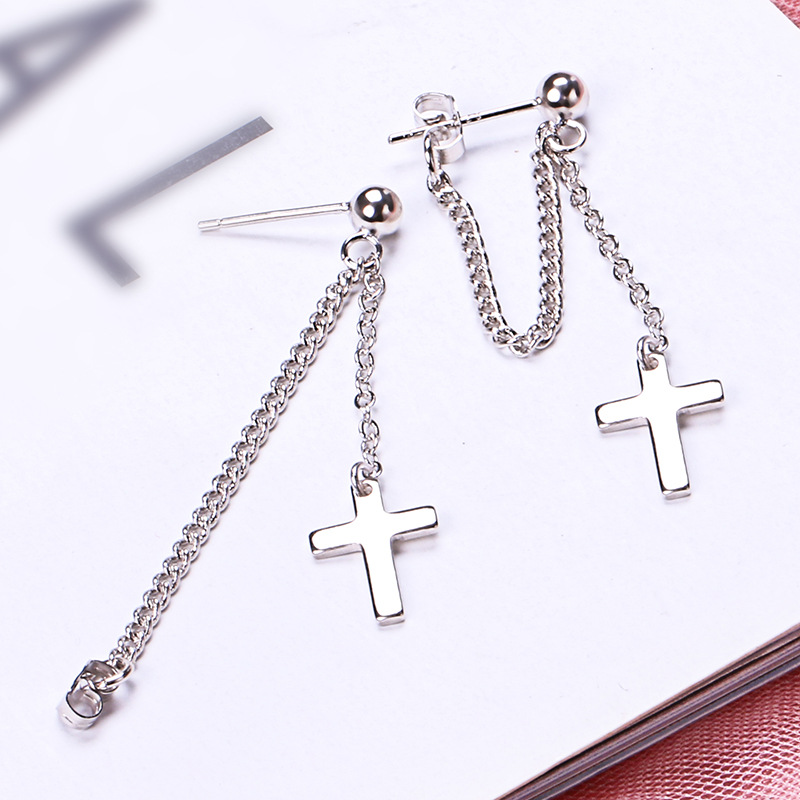 925 Solid Sterling Silver Cross Tassel Charm Drop Earrings for Women Jewelry Party Accessories pendientes Brincos eh1034 5