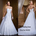 Customized Applique Lace A-line Beading Weding Dresses Dropped Waistline White Bridal Gowns robe de mariage 2015