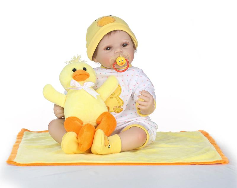 Hotsale 50CM Reborn Doll Soft Silicone Reborn Baby Dolls Girls Alive Newborn Bebe Reborn with a duck toy Menino Gifts Bonecas warkings reborn