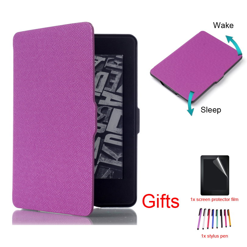 "Funda ultra delgada para Amazon Kindle Paperwhite 1 2 3a 6 ""Tableta Smart Sleep / Wake Magnet Funda protectora con tapa + película + pluma"