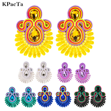 New Design Soutache Ethnic Handmade Earrings Jewelry Female Big Crystal Decoration Drop Earring Clothe Personality Accessories