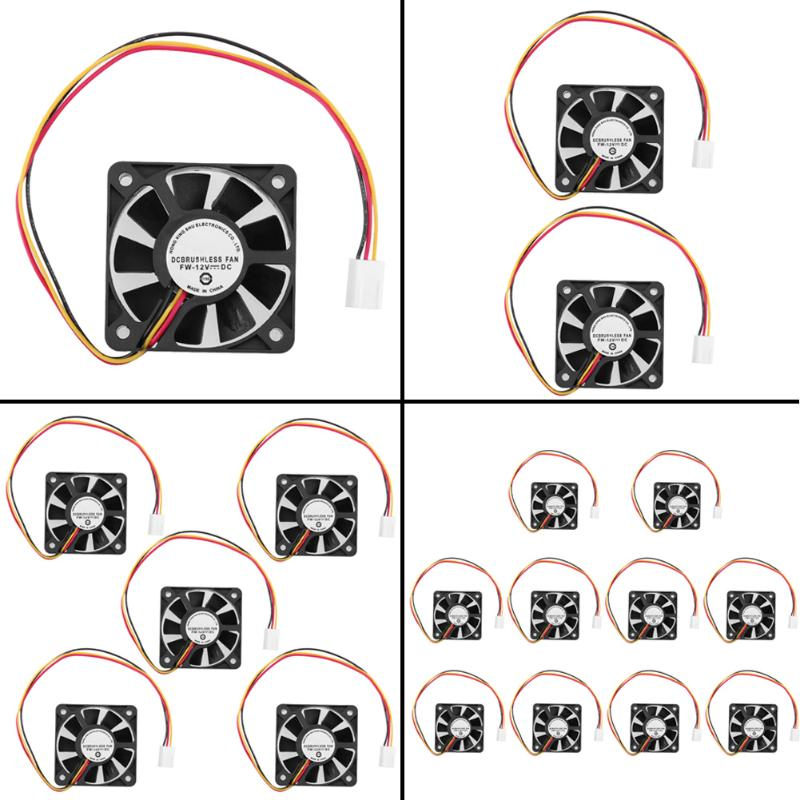 3 Pin 10pcs DC 12V computer case cooler 3 Pin CPU 5cm Cooling Fan Heatsinks Radiator for PC Computer desktops 50 x 50 x 10mm 3 pin computer pc case cooling cooler fan 8 x 8cm