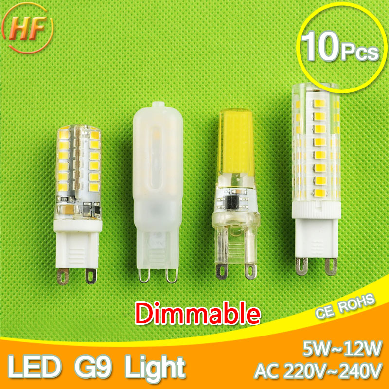 10pcs COB 220V LED G9 Bulb 6W 7W 9W 10W 12W LED Corn Light Replace Halogen Lamp Led Light Spot Crystal Chandelier Dimmable top quality 1508 cob g9 2w 220v dimmable corn light bulb led chandelier crystal lamp art galleries crystal lamps