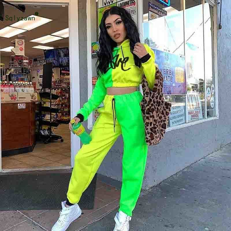 2 Piece Outfits Long Sleeve Hooded Crop Top Streetwear Fluorescent Green and Yellow Sweatsuits Letter Printed Neon Pants Suit