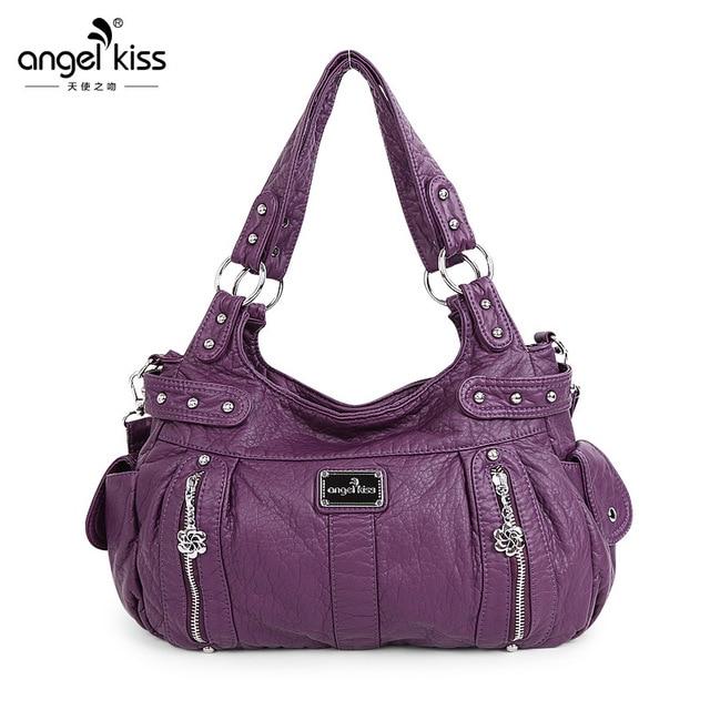 6fd28ca8a0b4 Angelkiss New Fashion Soft PU Leather Zipper Women Handbag Elegant Ladies  Hobo Shoulder Bag Messenger Purse Satchel