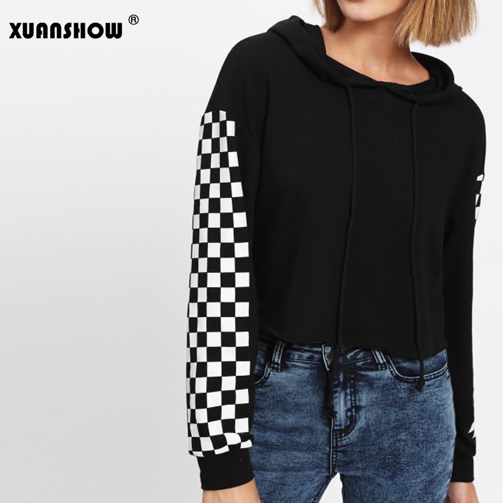 XUANSHOW 2020 Fashion Spring Autumn Hoodies Women Clothes Plaid Long Sleeve Crop Top Sweatshirts Moletom Feminino
