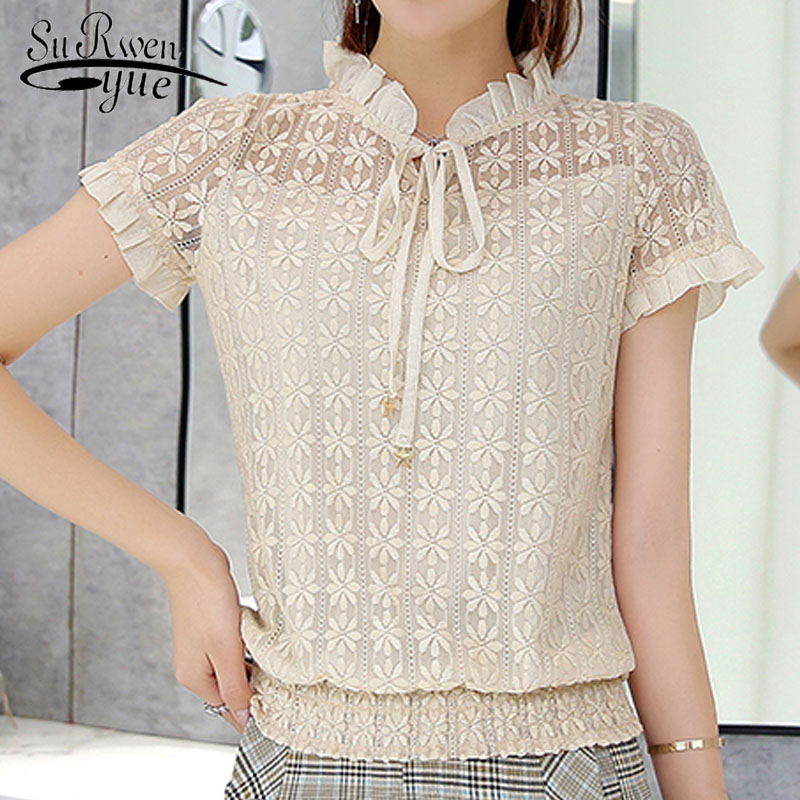 Women tops and blouses 2019 Short sleeve fashion lace blouse shirt blusas sexy hollow lace women's clothes ladies tops 0058 30