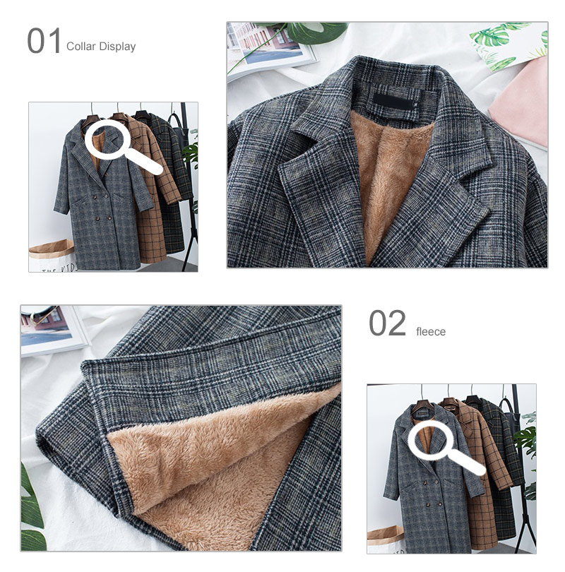 Winter Check Velvet Coat Female Notched Warm checkered Woolen Women's Coats Fleece Office Lady 19 Vintage Long Overcoat Woman 12