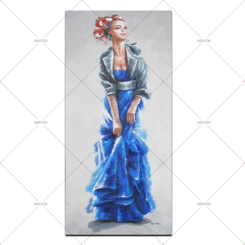 Hand Painted Modern Abstract Fashion Lady Oil Painting On Canvas 1 Panel Art Set Home Decoration Wall Picture For Living Room