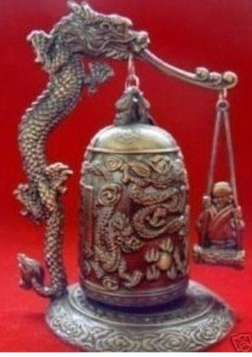 Free Shipping AExquisite Tibet Bronze Carved Dragon&buddha Bell