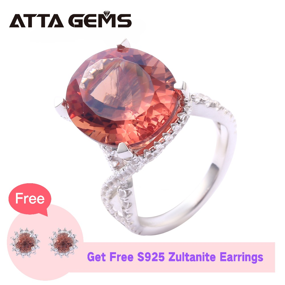 Zultanite Sterling Silver Rings Unisex Silver Rings 9 2 Carats Created Diaspore Faced Rings Classic Style