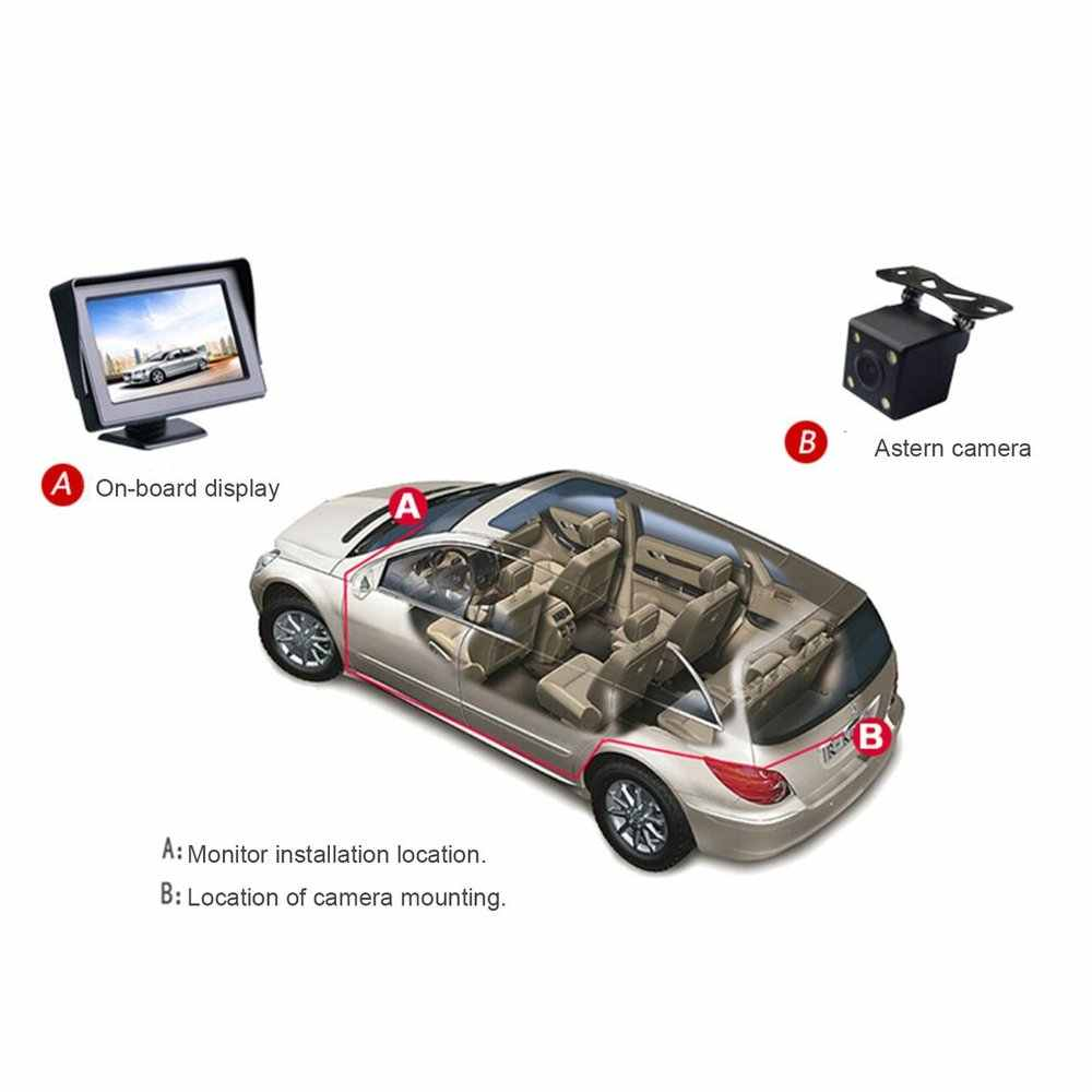 4,3 pulgadas 480*272 TFT Car LCD Monitor retrovisor pantalla a todo Color 2 canales entrada de vídeo reversa Visual